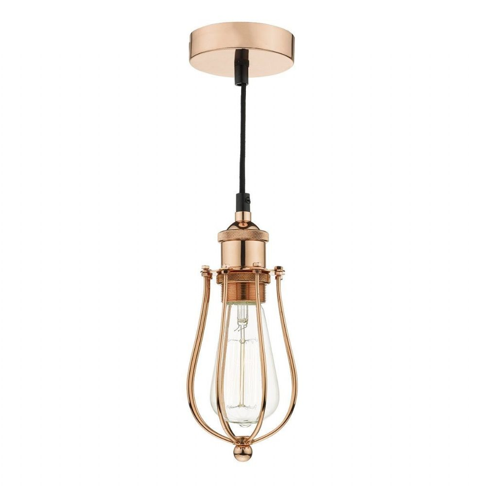 Taurus 1 Light Pendant Cage Bright Copper TAU0164